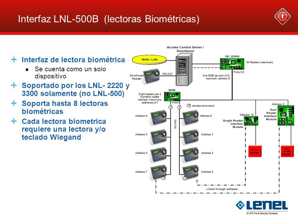 Interfaz LNL-500B (lectoras Biométricas) Interfaz de lectora biométrica Se cuenta como un solo dispositivo Soportado por los LNL- 2220 y 3300 solament