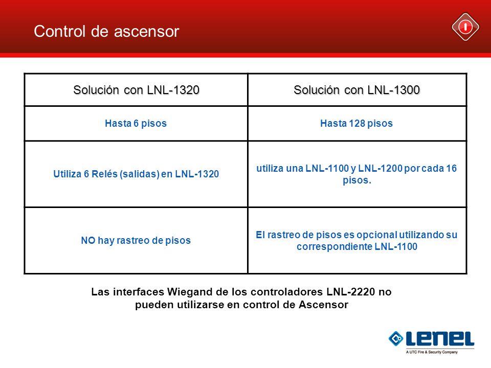 Control de ascensor Solución con LNL-1320 Solución con LNL-1300 Hasta 6 pisosHasta 128 pisos Utiliza 6 Relés (salidas) en LNL-1320 utiliza una LNL-110