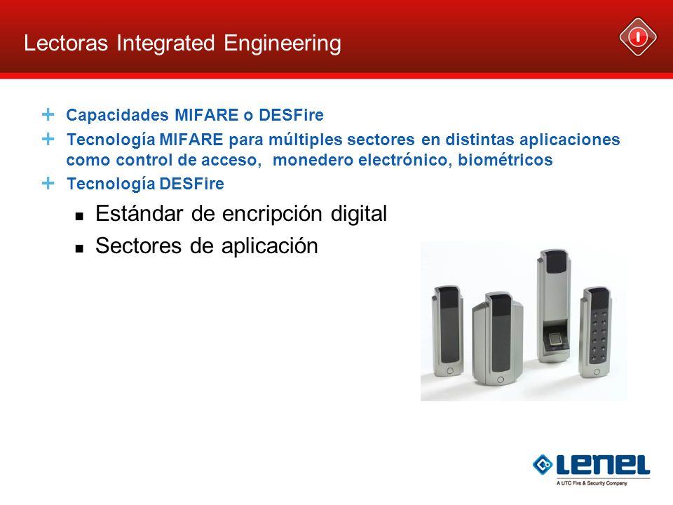 Lectoras Integrated Engineering Capacidades MIFARE o DESFire Tecnología MIFARE para múltiples sectores en distintas aplicaciones como control de acces