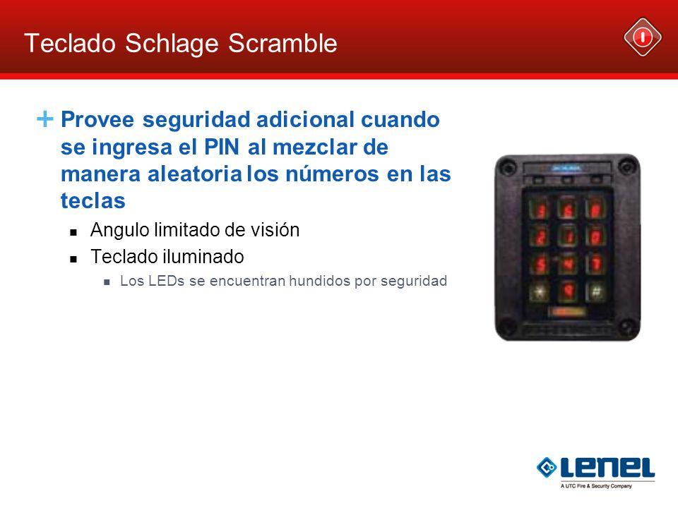 Teclado Schlage Scramble Provee seguridad adicional cuando se ingresa el PIN al mezclar de manera aleatoria los números en las teclas Angulo limitado