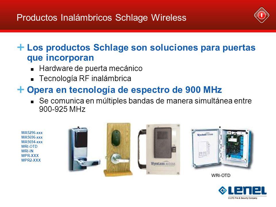 Productos Inalámbricos Schlage Wireless Los productos Schlage son soluciones para puertas que incorporan Hardware de puerta mecánico Tecnología RF ina