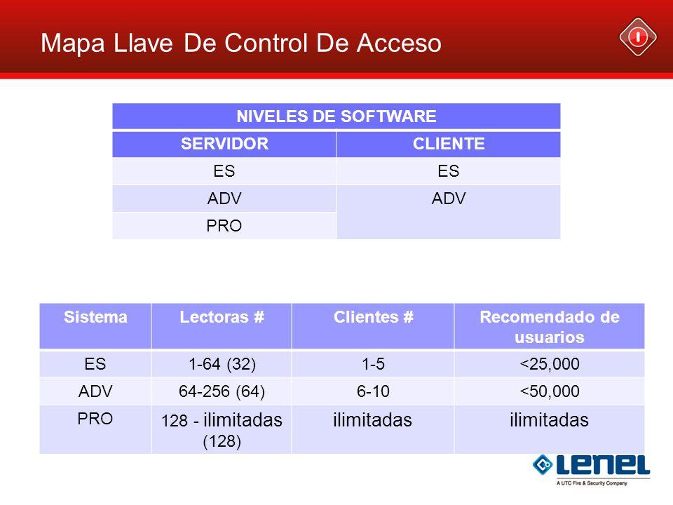 Mapa Llave De Control De Acceso SistemaLectoras #Clientes #Recomendado de usuarios ES1-64 (32)1-5<25,000 ADV64-256 (64)6-10<50,000 PRO 128 - ilimitada