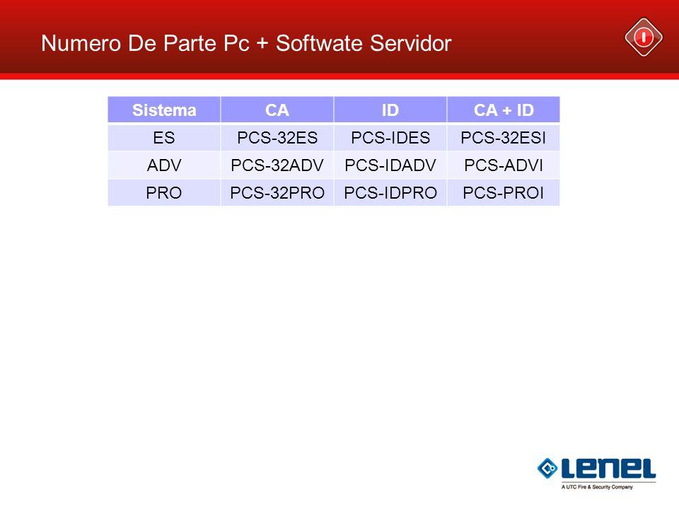 Numero De Parte Pc + Softwate Servidor SistemaCAIDCA + ID ESPCS-32ESPCS-IDESPCS-32ESI ADVPCS-32ADVPCS-IDADVPCS-ADVI PROPCS-32PROPCS-IDPROPCS-PROI