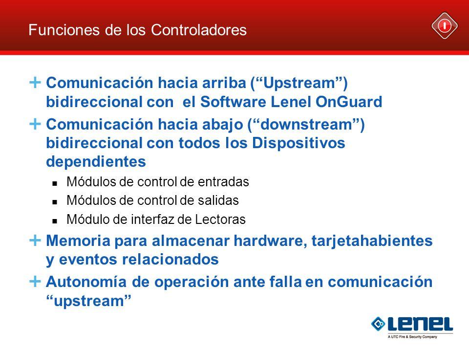 Funciones de los Controladores Comunicación hacia arriba (Upstream) bidireccional con el Software Lenel OnGuard Comunicación hacia abajo (downstream)
