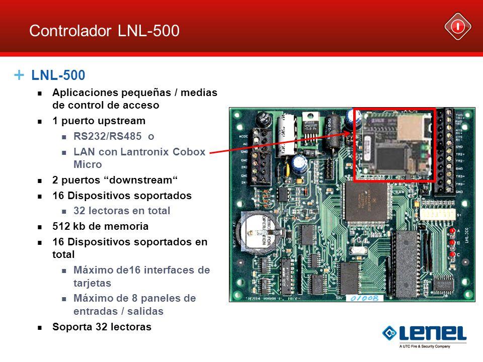 Controlador LNL-2220 Controlador de Lectora dual LNL-2220 (IDRC) Combina la funcionalidad de un panel de acceso con una interfaz de Lectora doble Velocidad de comunicación 8 veces mas efectiva Ethernet tarjeta Procesador 32 bits Puertos de Lectora soportados D1/D0 Clock/Data F/2F Comunicación direccional OSDP El puerto de cada Lectora esta limitado a 150mA 32 Dispositivos direccionales adicionales 64 lector es en total misma forma que el LNL-2000 / LNL-1320 50,000 eventos fijos
