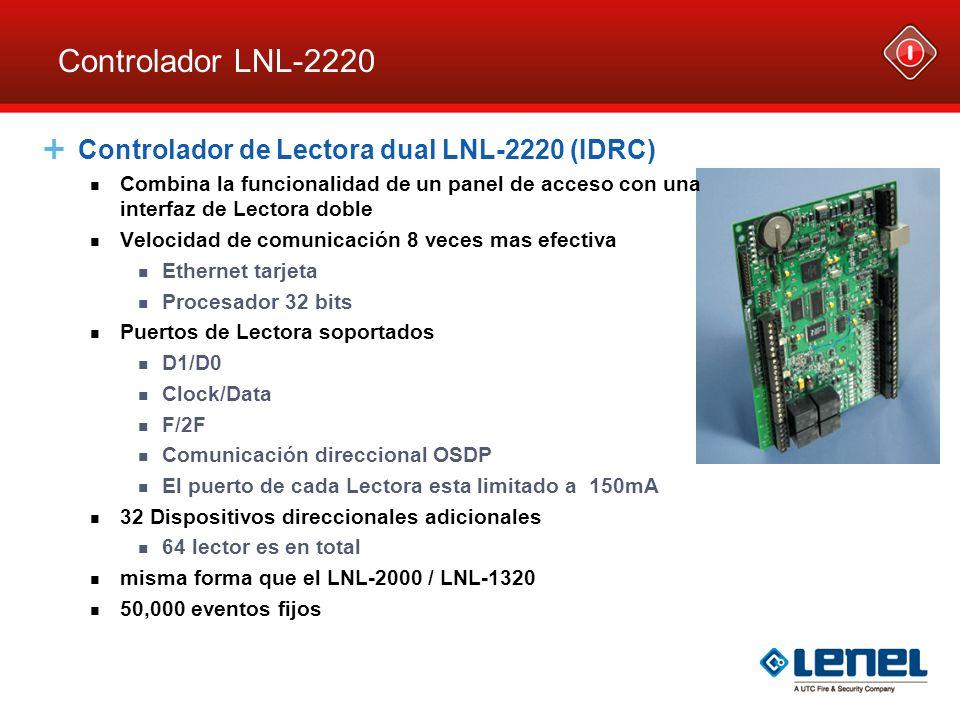 Interfaz de Lectora simple LNL-1300 Puerto de Lectora Comunicación DC Direccion & Baud Rate Puentes – J2 LEDs de estado Relé de electroimán Relé Aux REX Potencia Terminación EOL – J4 Intrusión a gabinete – J3
