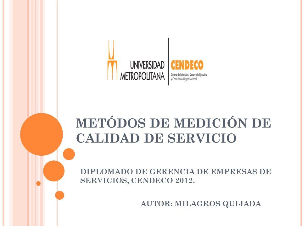 METÓDOS DE MEDICIÓN DE CALIDAD DE SERVICIO DIPLOMADO DE GERENCIA DE EMPRESAS DE SERVICIOS, CENDECO 2012. AUTOR: MILAGROS QUIJADA