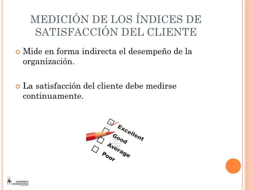 MEDICIÓN DE LOS ÍNDICES DE SATISFACCIÓN DEL CLIENTE Mide en forma indirecta el desempeño de la organización. La satisfacción del cliente debe medirse