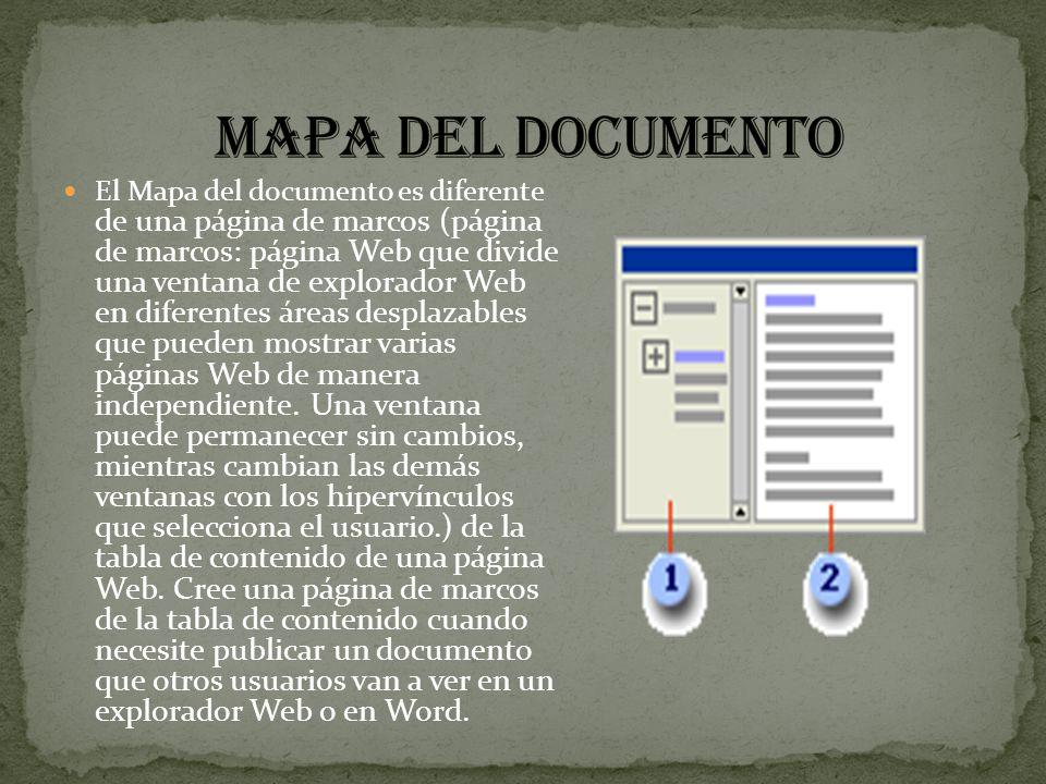 El Mapa del documento es diferente de una página de marcos (página de marcos: página Web que divide una ventana de explorador Web en diferentes áreas