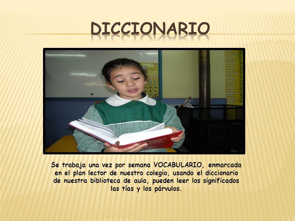 Se trabaja una vez por semana VOCABULARIO, enmarcada en el plan lector de nuestro colegio, usando el diccionario de nuestra biblioteca de aula, pueden