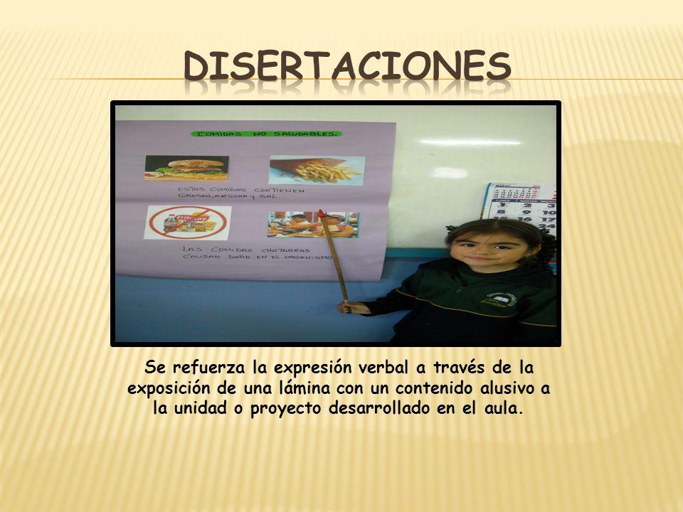 Se refuerza la expresión verbal a través de la exposición de una lámina con un contenido alusivo a la unidad o proyecto desarrollado en el aula.