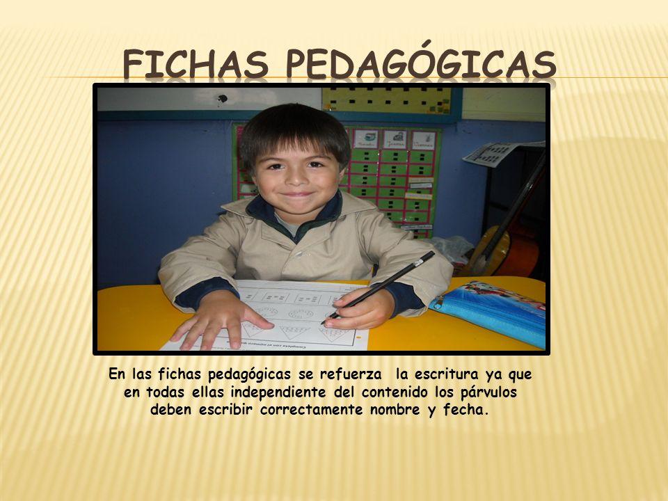 En las fichas pedagógicas se refuerza la escritura ya que en todas ellas independiente del contenido los párvulos deben escribir correctamente nombre