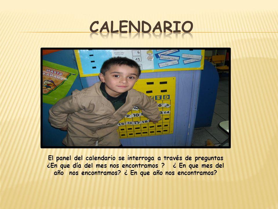 El panel del calendario se interroga a través de preguntas ¿En que día del mes nos encontramos ? ¿ En que mes del año nos encontramos? ¿ En que año no