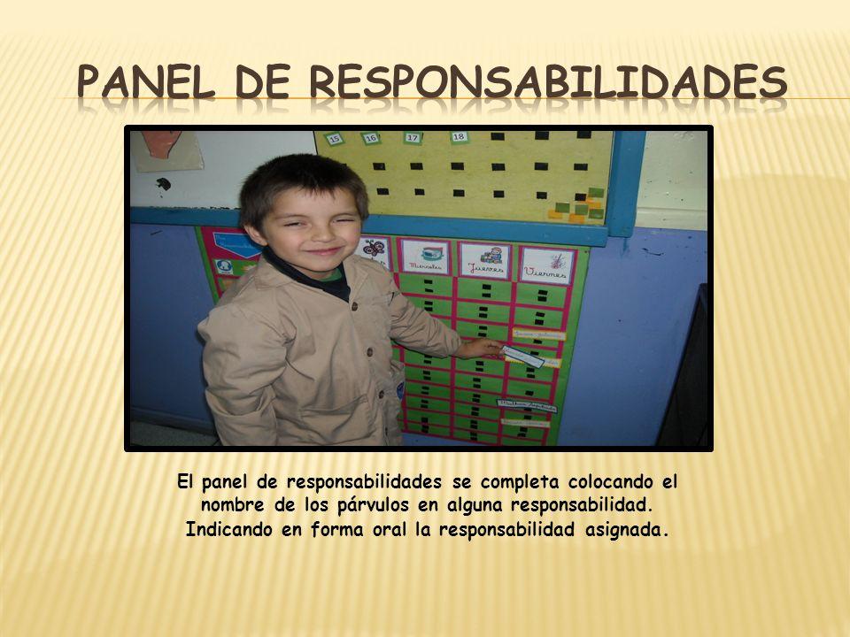 El panel de responsabilidades se completa colocando el nombre de los párvulos en alguna responsabilidad. Indicando en forma oral la responsabilidad as