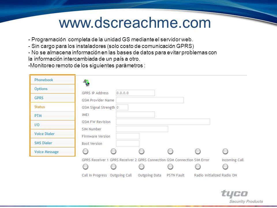 DSCReachme.com Interface de programación para GS3125 Programación remota utilizando canal GPRS de la red GSM.