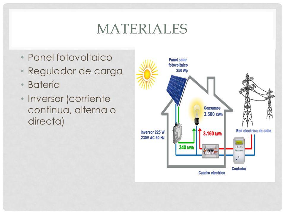 MATERIALES Panel fotovoltaico Regulador de carga Batería Inversor (corriente continua, alterna o directa)