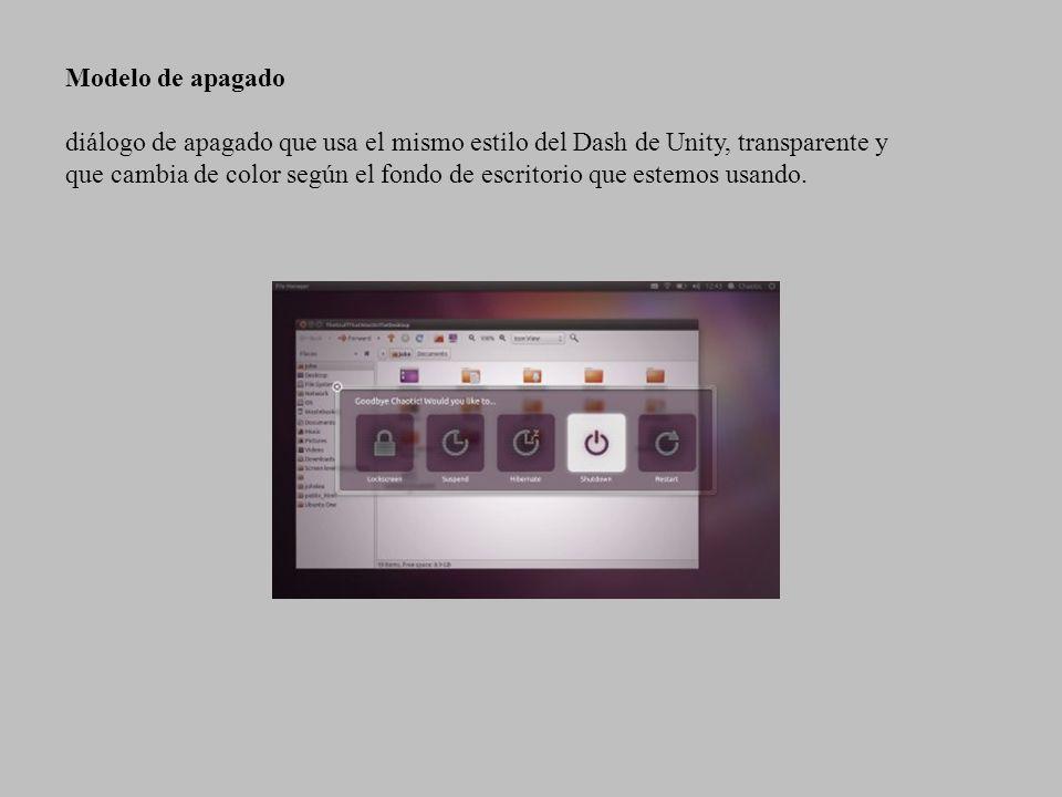 Modelo de apagado diálogo de apagado que usa el mismo estilo del Dash de Unity, transparente y que cambia de color según el fondo de escritorio que es