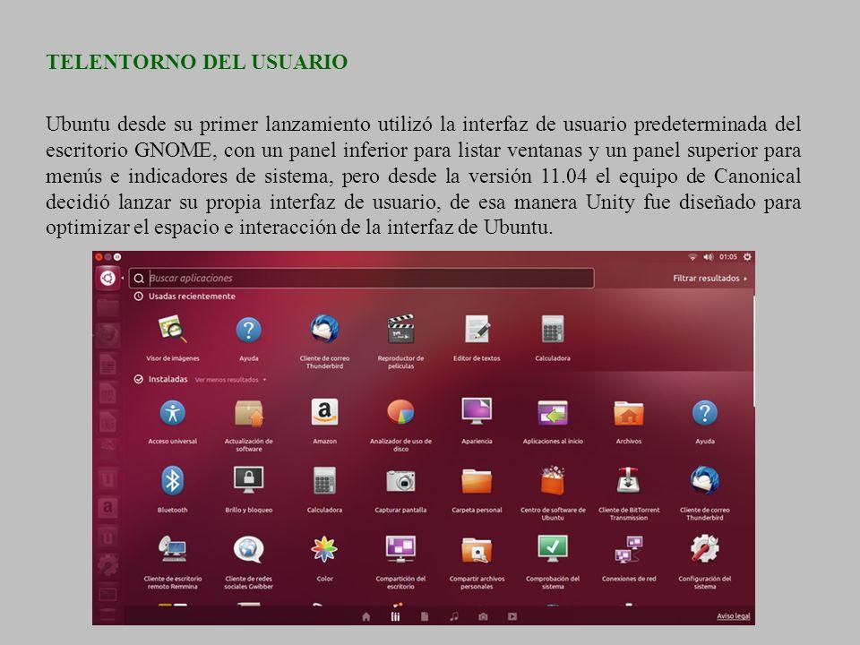 TELENTORNO DEL USUARIO Ubuntu desde su primer lanzamiento utilizó la interfaz de usuario predeterminada del escritorio GNOME, con un panel inferior pa