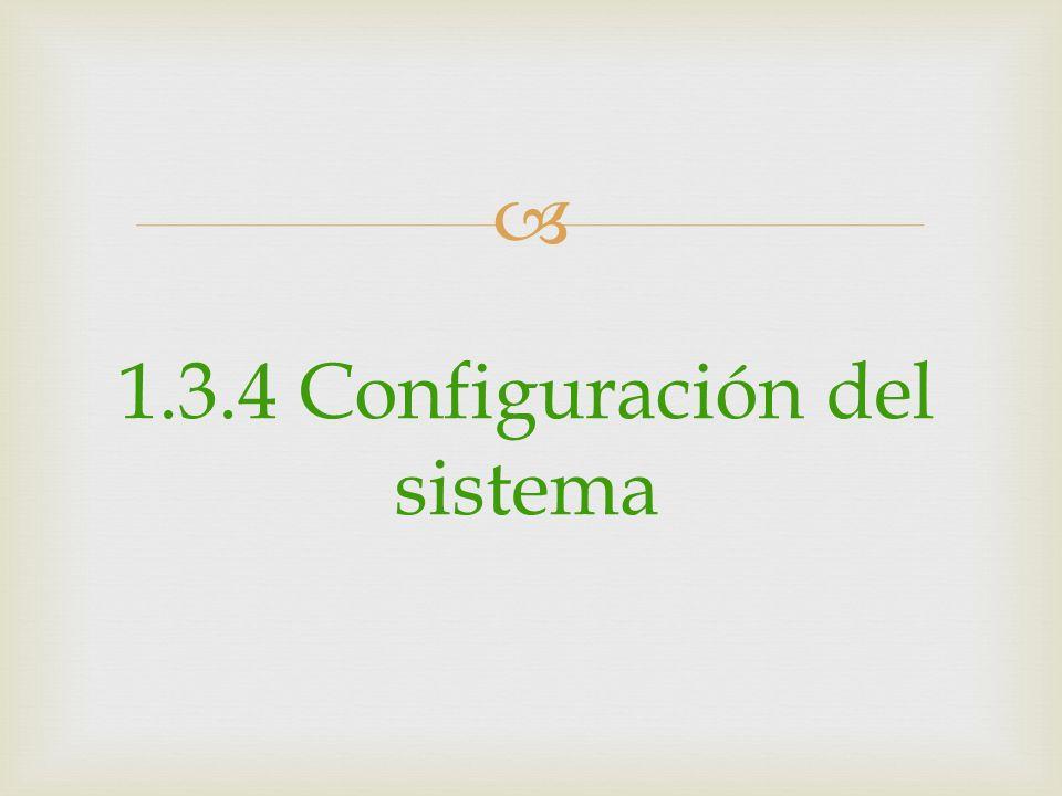 1.3.4 Configuración del sistema