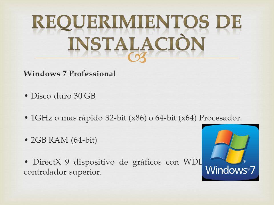Windows 7 Professional Disco duro 30 GB 1GHz o mas rápido 32-bit (x86) o 64-bit (x64) Procesador. 2GB RAM (64-bit) DirectX 9 dispositivo de gráficos c