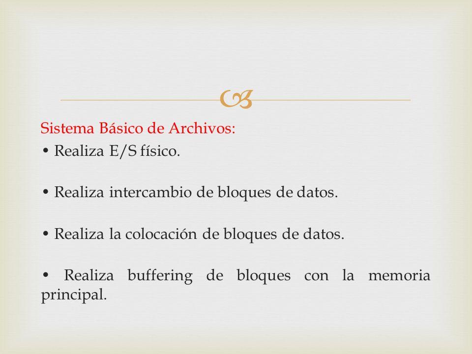 Sistema Básico de Archivos: Realiza E/S físico. Realiza intercambio de bloques de datos. Realiza la colocación de bloques de datos. Realiza buffering