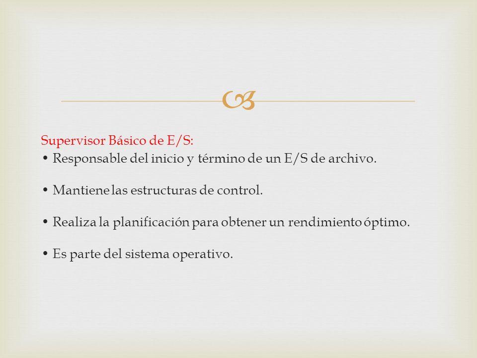 Supervisor Básico de E/S: Responsable del inicio y término de un E/S de archivo. Mantiene las estructuras de control. Realiza la planificación para ob