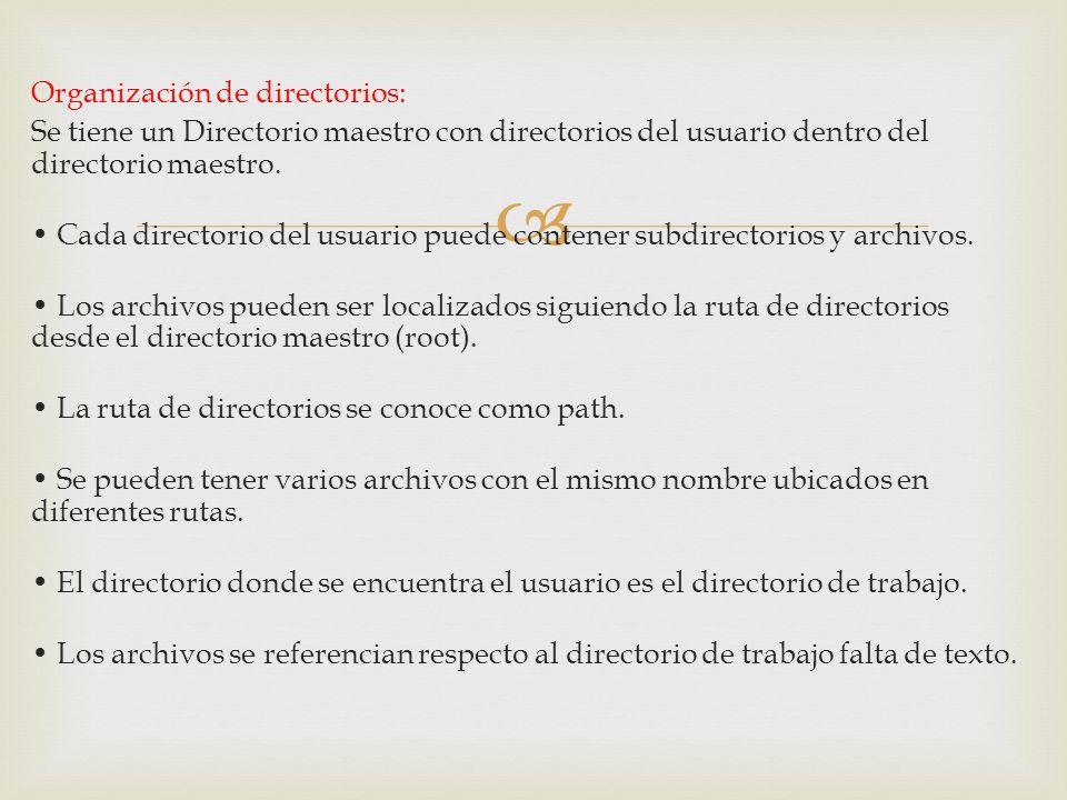 Organización de directorios: Se tiene un Directorio maestro con directorios del usuario dentro del directorio maestro. Cada directorio del usuario pue