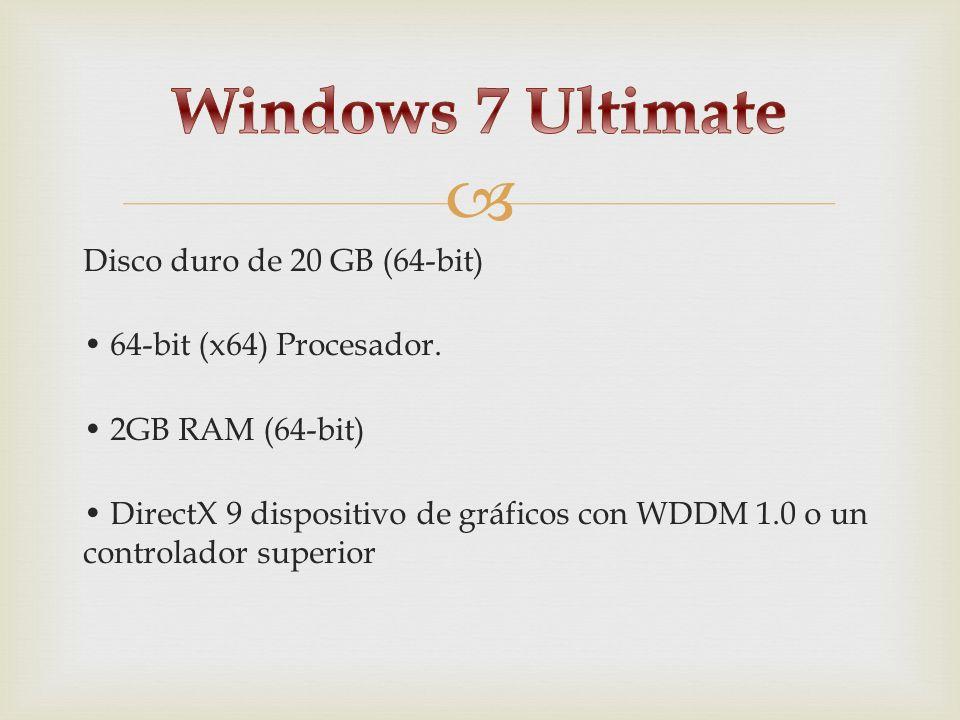 Disco duro de 20 GB (64-bit) 64-bit (x64) Procesador. 2GB RAM (64-bit) DirectX 9 dispositivo de gráficos con WDDM 1.0 o un controlador superior