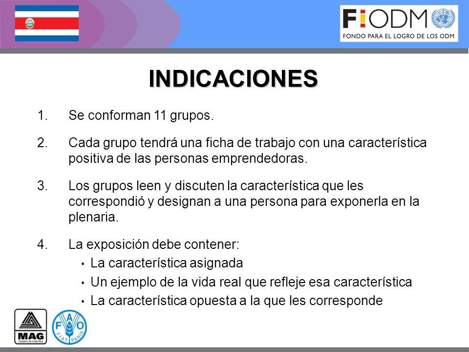 INDICACIONES 1.Se conforman 11 grupos. 2.Cada grupo tendrá una ficha de trabajo con una característica positiva de las personas emprendedoras. 3.Los g