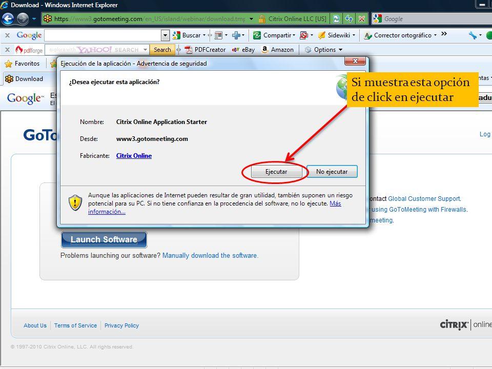 Si muestra esta opción de click en ejecutar