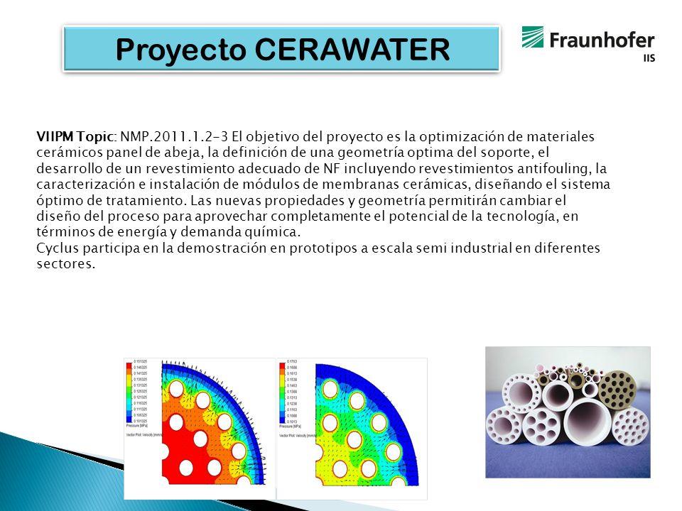 Proyecto CERAWATER VIIPM Topic: NMP.2011.1.2-3 El objetivo del proyecto es la optimización de materiales cerámicos panel de abeja, la definición de una geometría optima del soporte, el desarrollo de un revestimiento adecuado de NF incluyendo revestimientos antifouling, la caracterización e instalación de módulos de membranas cerámicas, diseñando el sistema óptimo de tratamiento.