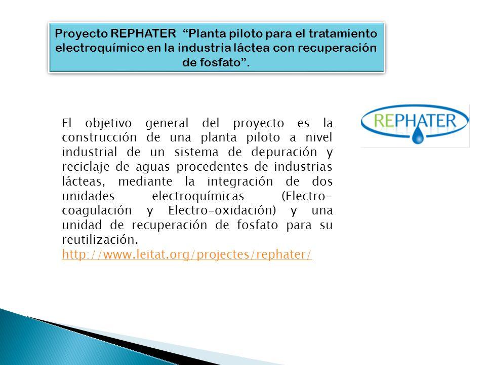 Proyecto REPHATER Planta piloto para el tratamiento electroquímico en la industria láctea con recuperación de fosfato. El objetivo general del proyect