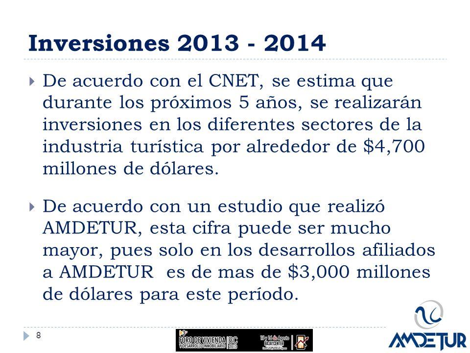 Inversiones 2013 - 2014 De acuerdo con el CNET, se estima que durante los próximos 5 años, se realizarán inversiones en los diferentes sectores de la