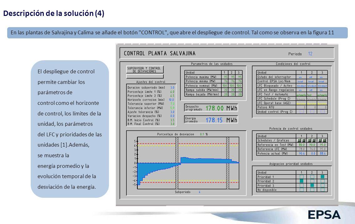 El despliegue de control permite cambiar los parámetros de control como el horizonte de control, los límites de la unidad, los parámetros del LFC y pr