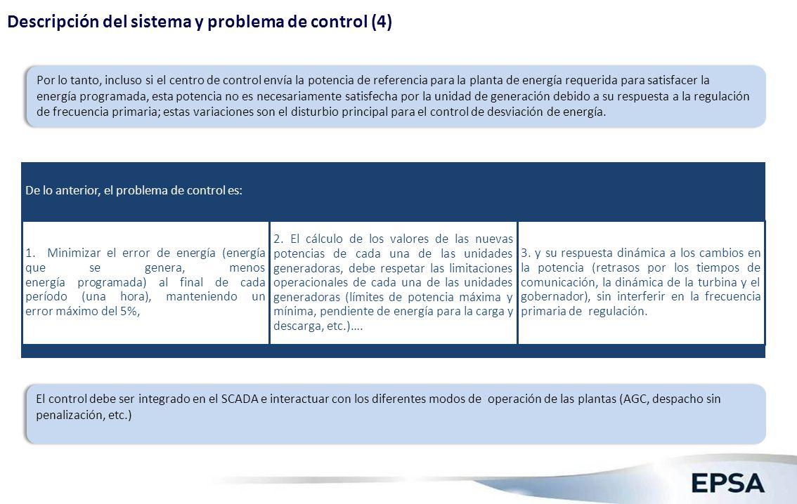 Descripción del sistema y problema de control (4) Por lo tanto, incluso si el centro de control envía la potencia de referencia para la planta de ener