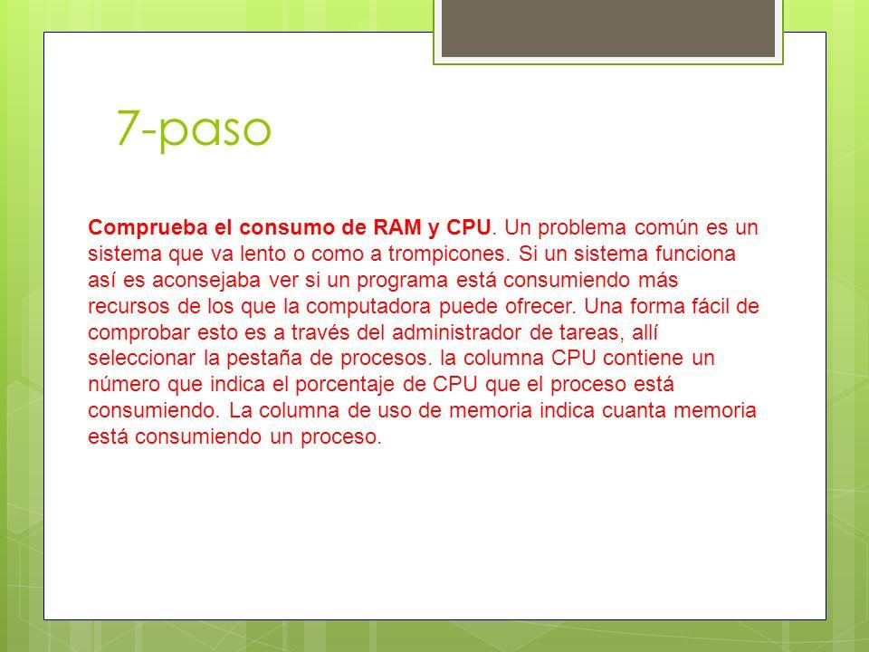 7-paso Comprueba el consumo de RAM y CPU.