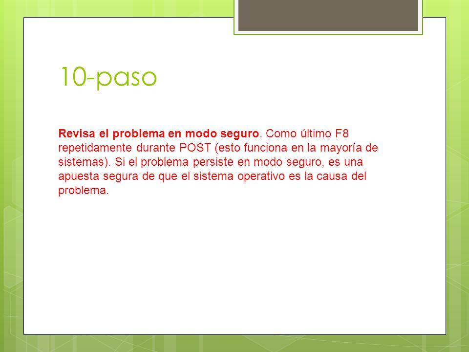 10-paso Revisa el problema en modo seguro.
