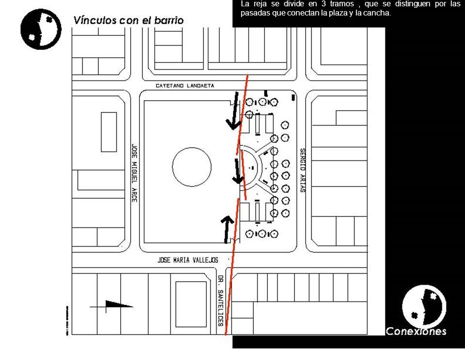 La reja se divide en 3 tramos, que se distinguen por las pasadas que conectan la plaza y la cancha.
