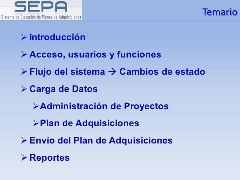 Temario Introducción Acceso, usuarios y funciones Flujo del sistema Cambios de estado Carga de Datos Administración de Proyectos Plan de Adquisiciones