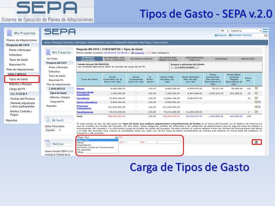 Tipos de Gasto - SEPA v.2.0 Carga de Tipos de Gasto