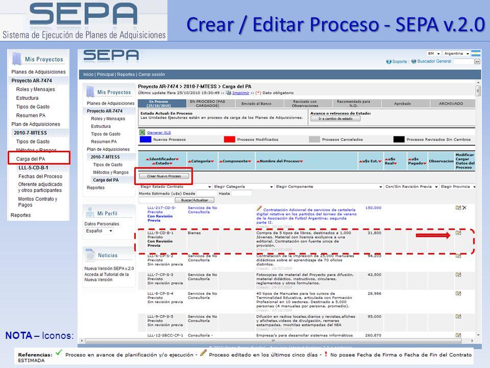 Crear / Editar Proceso - SEPA v.2.0 NOTA – Iconos: