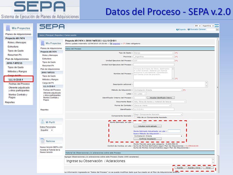 Datos del Proceso - SEPA v.2.0 Ingrese su Observación / Aclaraciones