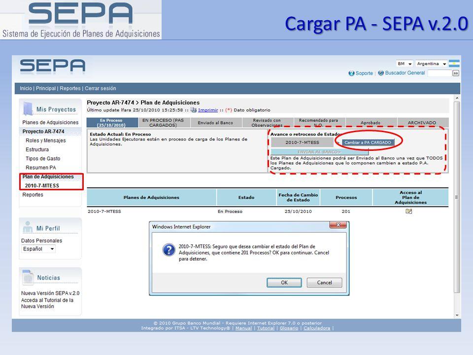 Cargar PA - SEPA v.2.0