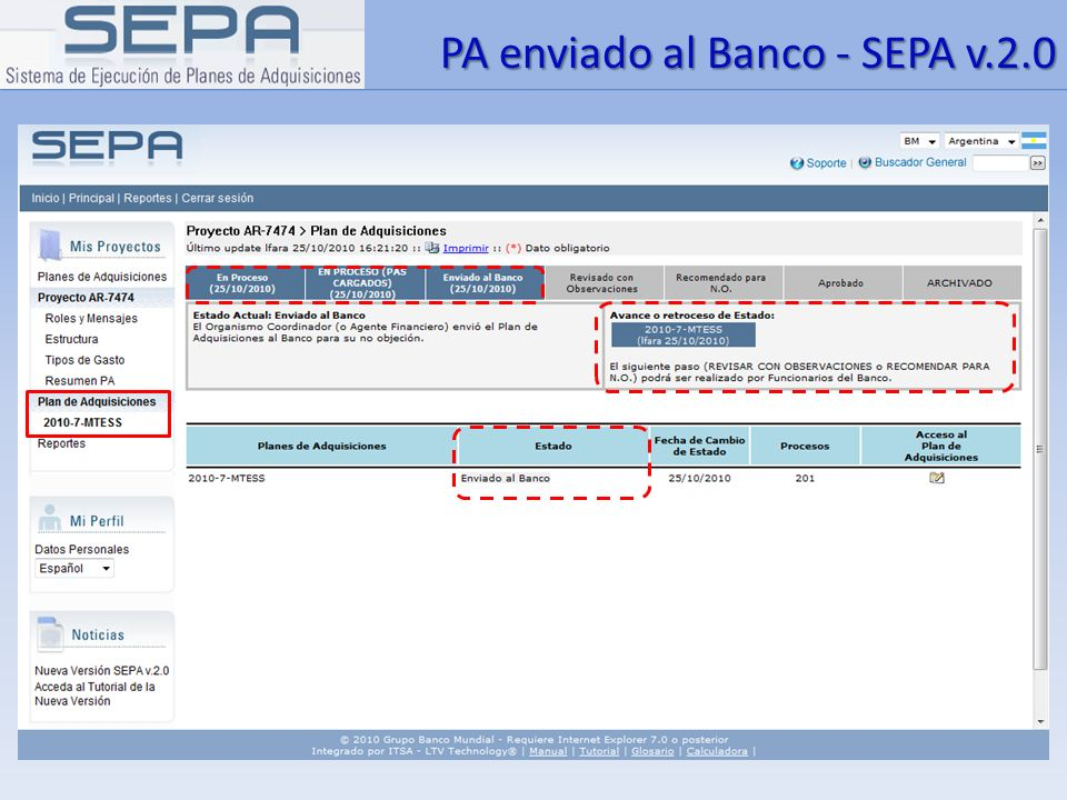 PA enviado al Banco - SEPA v.2.0