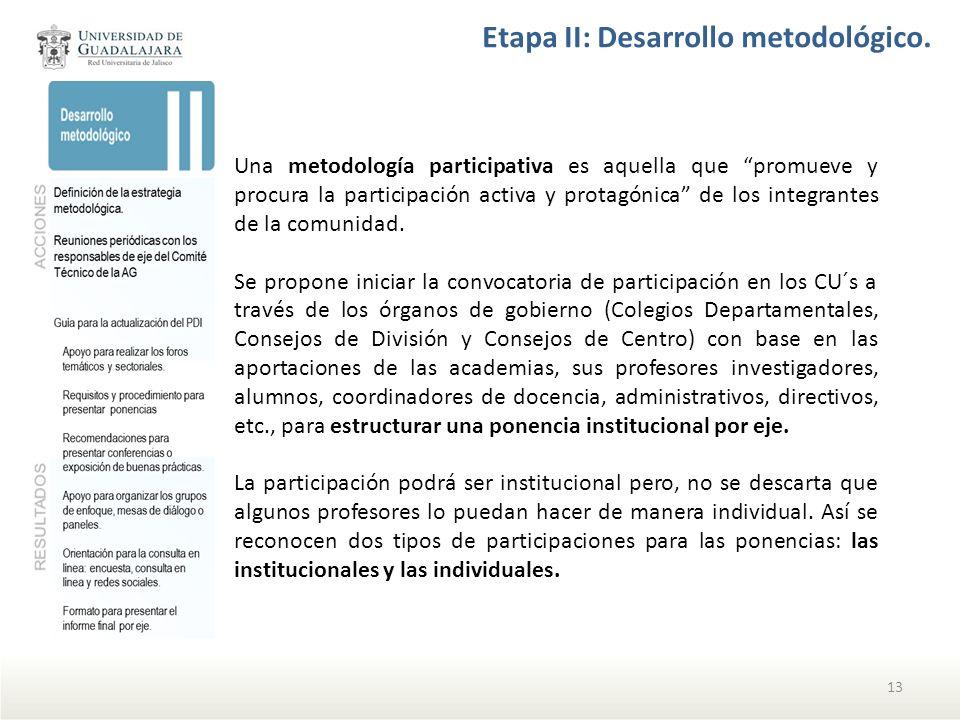 Etapa II: Desarrollo metodológico. Una metodología participativa es aquella que promueve y procura la participación activa y protagónica de los integr