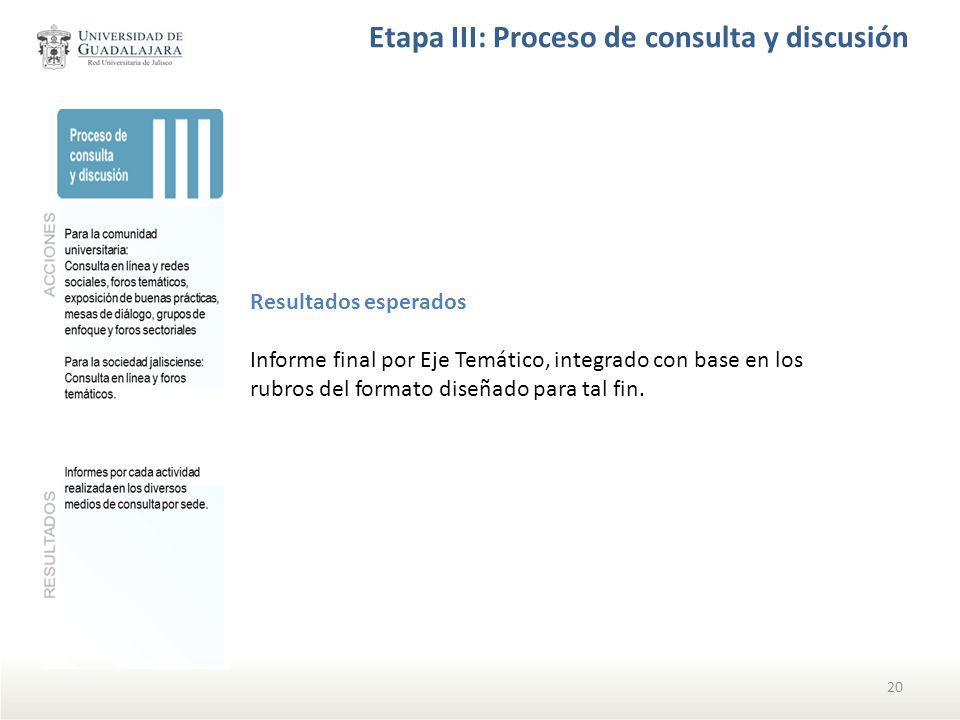 Etapa III: Proceso de consulta y discusión 20 Resultados esperados Informe final por Eje Temático, integrado con base en los rubros del formato diseña