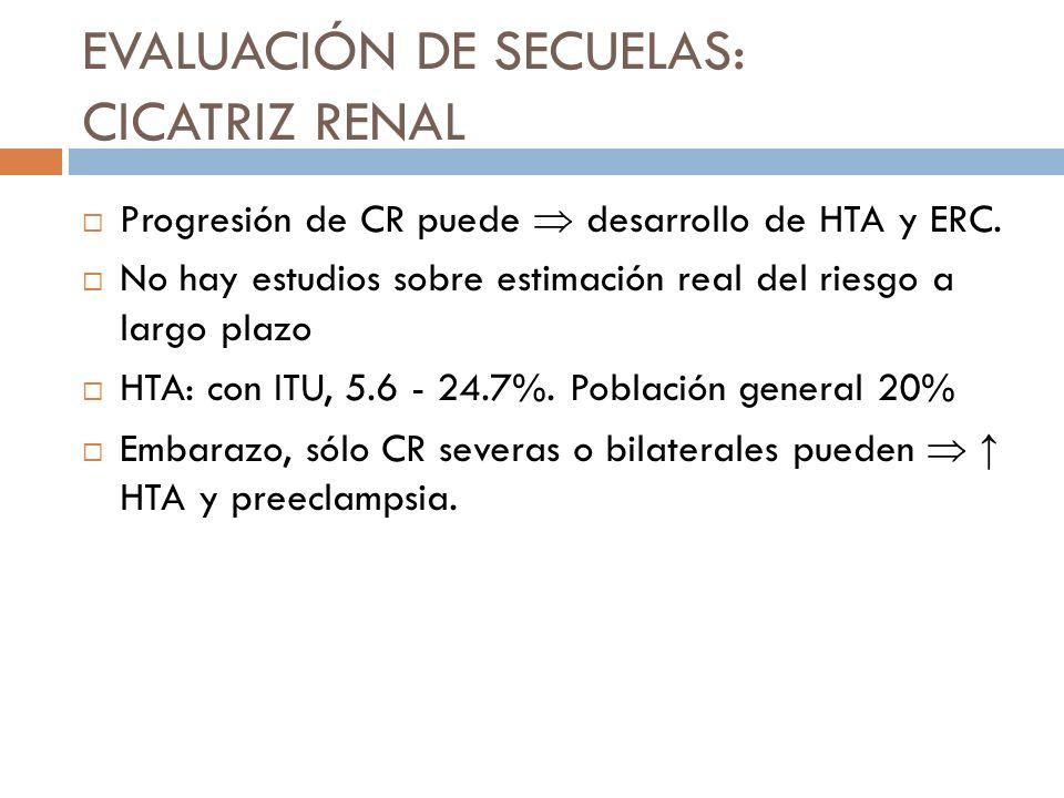 ERC: Difícil establecer el riesgo real relacionada a ITU Entre un 0.5 a un 15% de las causas de ERC son atribuibles a ITU Hay controversias si el manejo activo de ésta ha cambiado la incidencia de ERC La progresión a la ERC se presenta especialmente en los casos de displasia renal congénita asociada a RVU EVALUACIÓN DE SECUELAS: CICATRIZ RENAL