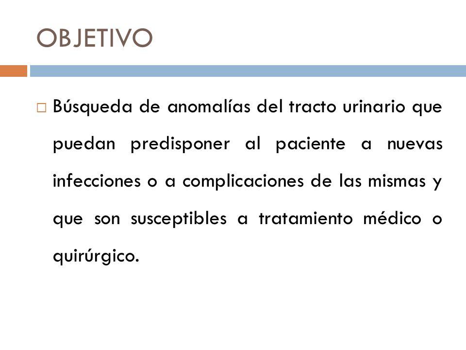 PROPÓSITOS Localización del nivel de la ITU Diagnóstico de reflujo vésico-ureteral Diagnóstico de otras malformaciones del tracto urinario Evaluación de secuelas: cicatriz renal