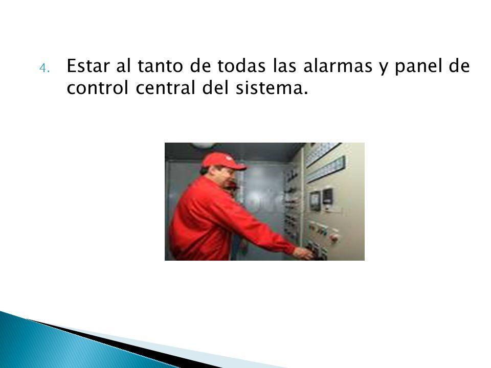 4. Estar al tanto de todas las alarmas y panel de control central del sistema.