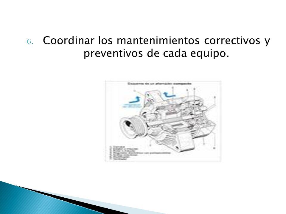 6. Coordinar los mantenimientos correctivos y preventivos de cada equipo.